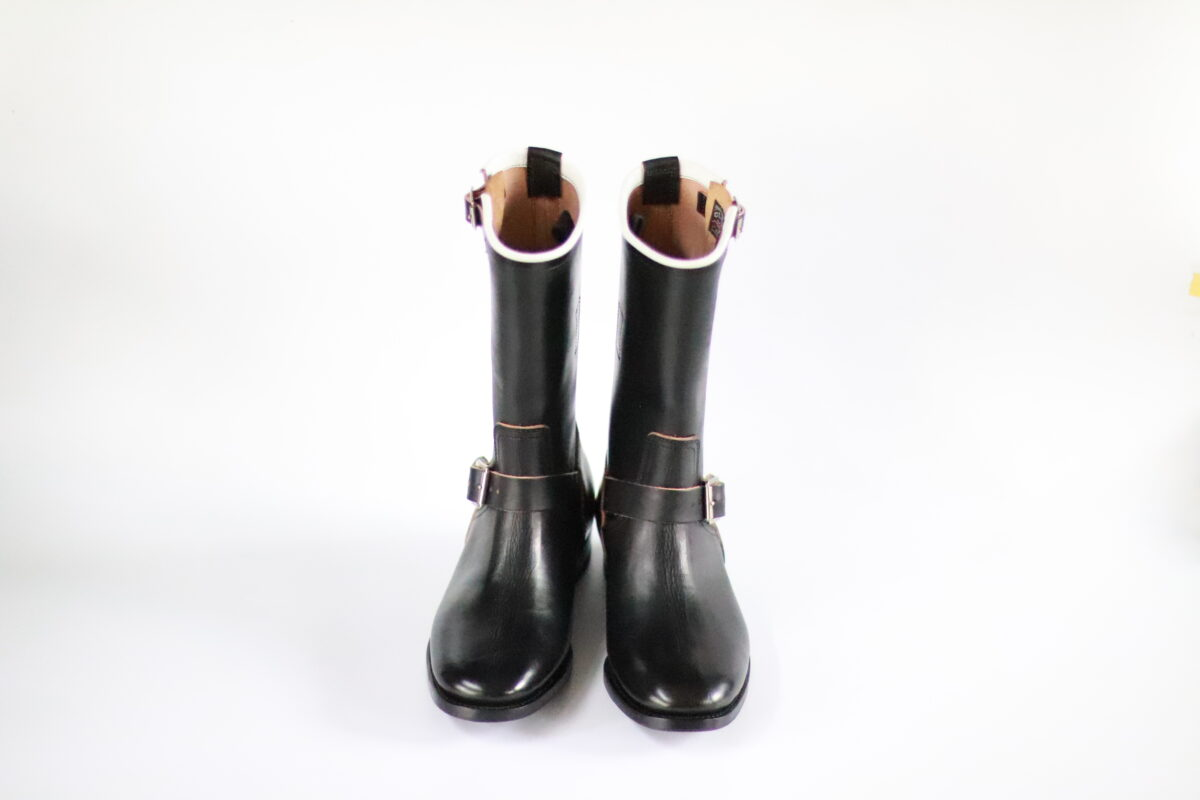 Engineer Boots  11inch-Height Latigo leather  White-Piping  CN